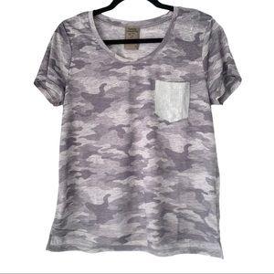 Sequin Pocket Camo Print Tee